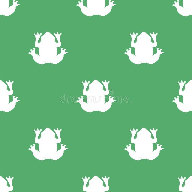 Kontur av en vit groda på en grön bakgrund royaltyfri illustrationer