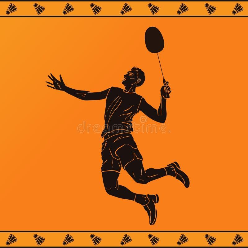 Kontur av en yrkesmässig badmintonspelare royaltyfri illustrationer