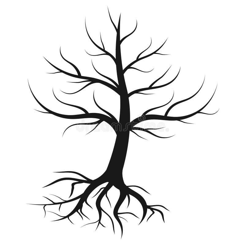 Kontur av ett ensamt träd royaltyfri illustrationer