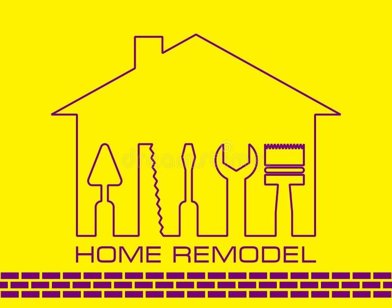 Kontur av ett hus med hjälpmedel för reparation Logohemmet omdanar i guling vektor illustrationer