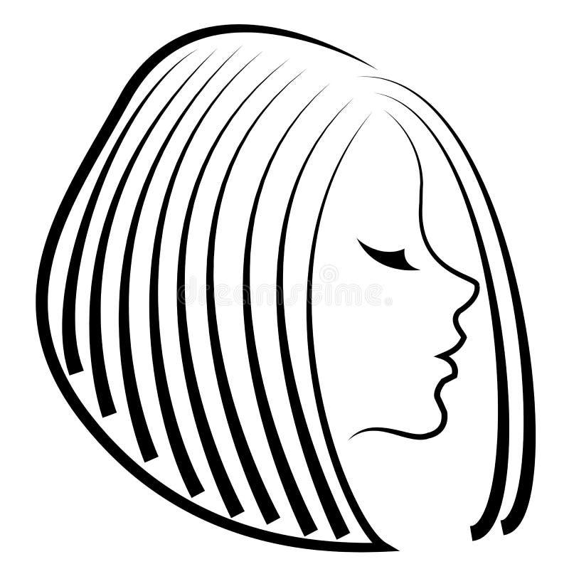 Kontur av ett huvud av en s?t dam Flickan visar hennes frisyr p? l?ngt och medelh?r Kvinnan ?r h?rlig och stilfull royaltyfri illustrationer