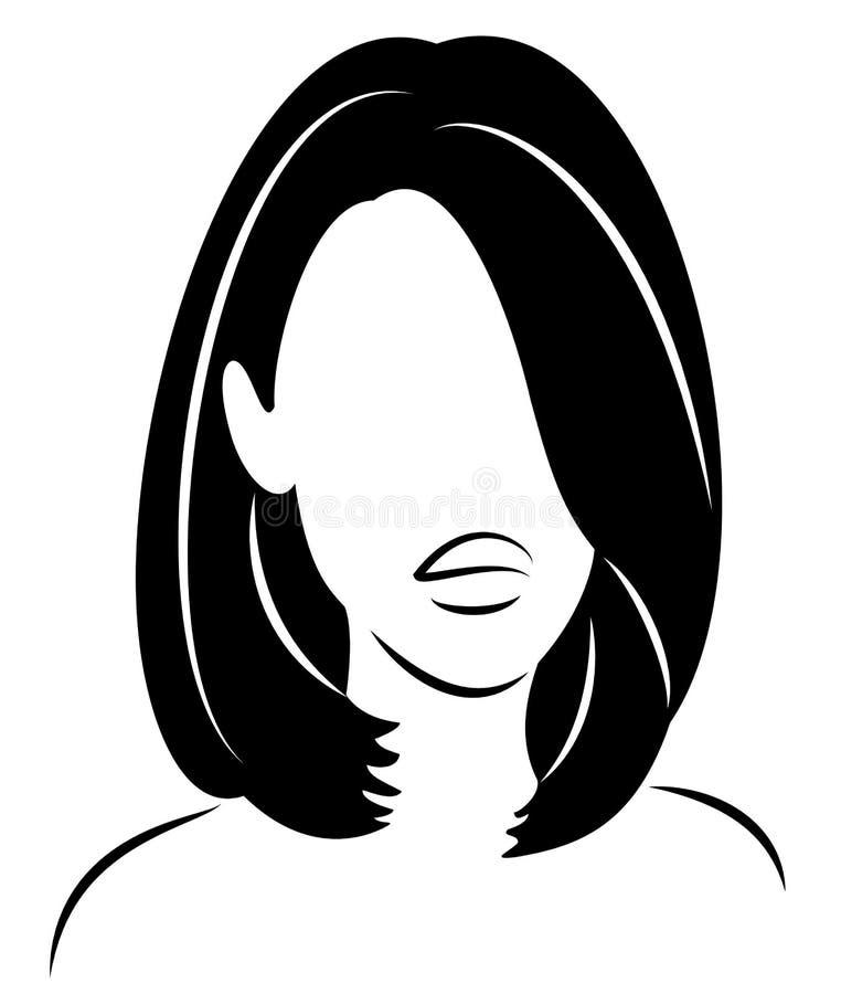 Kontur av ett huvud av en s?t dam Flickan visar hennes frisyr p? l?ngt och medelh?r Kvinnan ?r h?rlig och stilfull vektor illustrationer