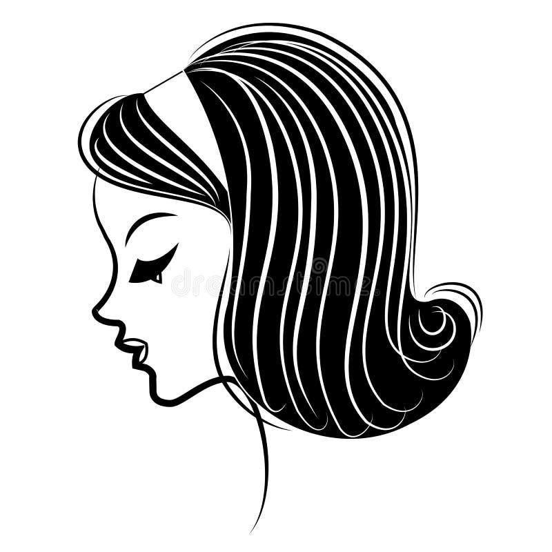 Kontur av ett huvud av en s?t dam Flickan visar hennes frisyr p? l?ngt och medelh?r Kvinnan ?r h?rlig och stilfull stock illustrationer