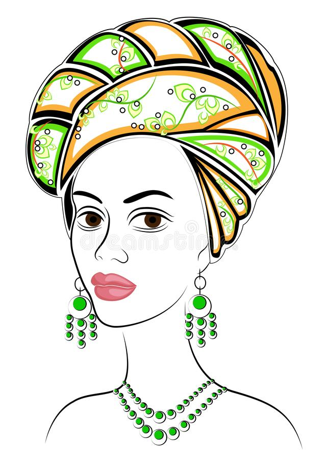 Kontur av ett huvud av en s?t dam En ljus sjal och en turban binds p? huvudet av en afrikansk amerikanflicka Kvinnan ?r royaltyfri illustrationer