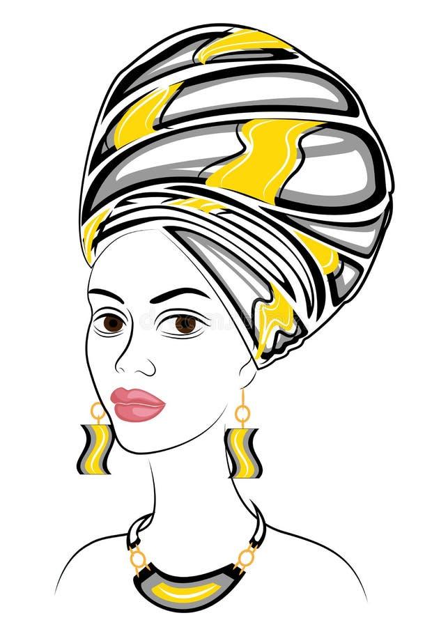 Kontur av ett huvud av en s?t dam En ljus sjal och en turban binds p? huvudet av en afrikansk amerikanflicka Kvinnan ?r stock illustrationer