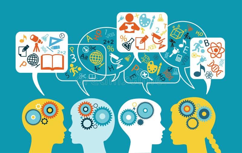 Kontur av ett huvud för barn` s med anförandebubblor, kugghjul och utbildningssymboler royaltyfri illustrationer