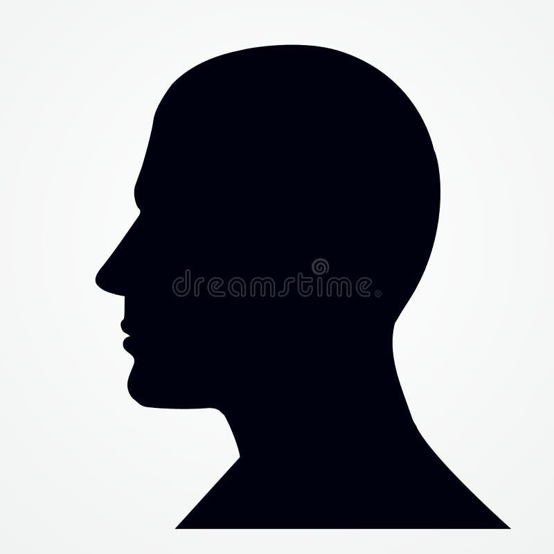 Kontur av ett huvud för man s vektor illustrationer
