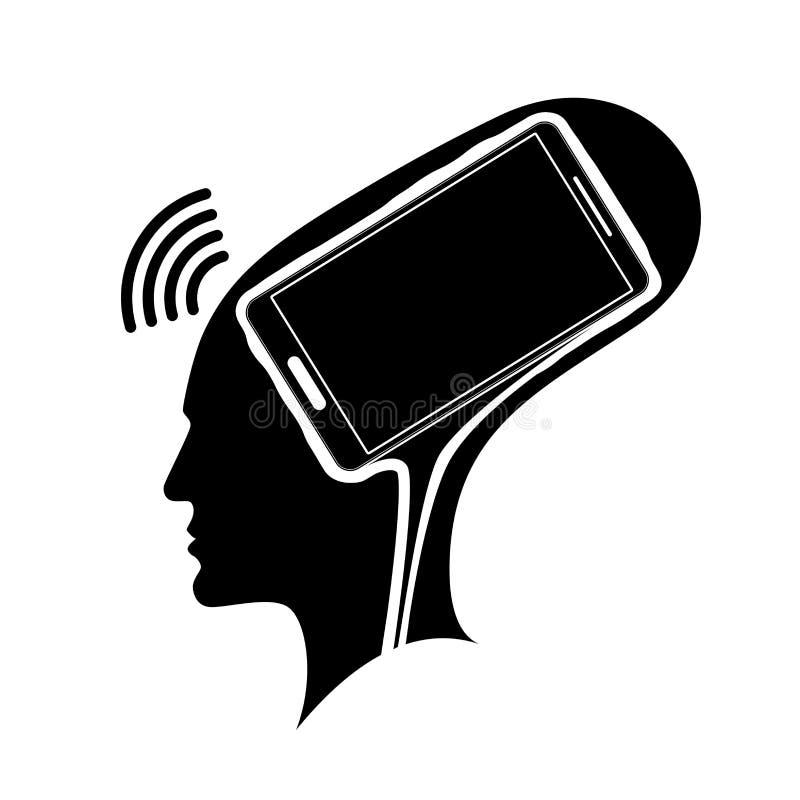 Kontur av ett huvud för man s med en hjärna i form av en smartphone Beroende på telefonen, sociala nätverk eller stock illustrationer