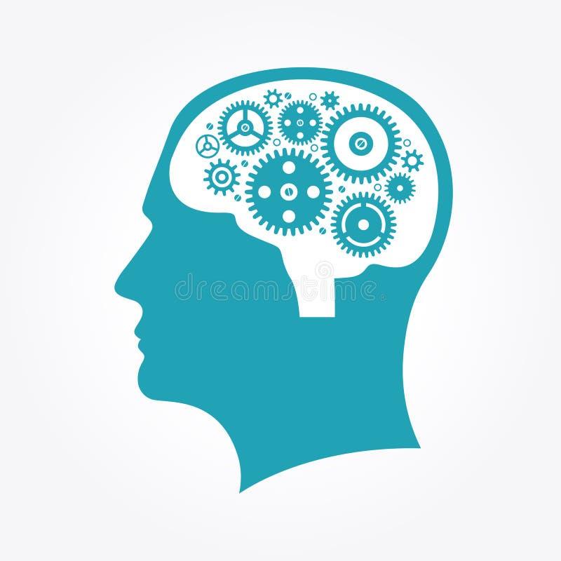 Kontur av ett huvud för man` s med kugghjul i formen av hjärnan royaltyfri illustrationer
