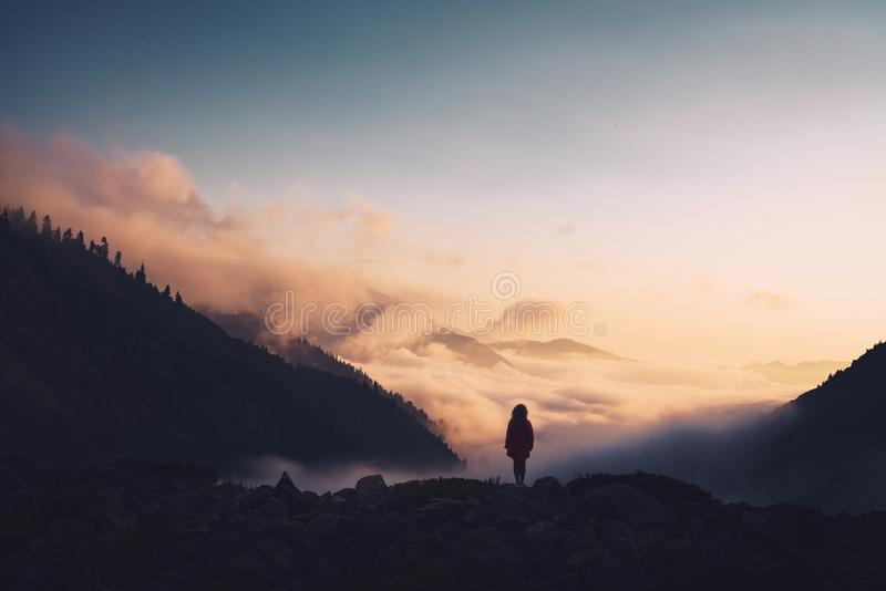 Kontur av ett kvinnaanseende på en kant som tycker om solnedgången royaltyfri foto