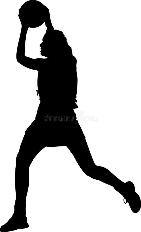 Kontur av flickakorgbollspelaren som fångar kasta bollen royaltyfri illustrationer