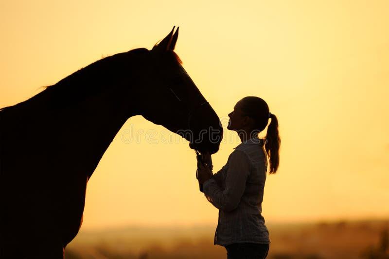 Kontur av flickan med hästen på solnedgången arkivfoton