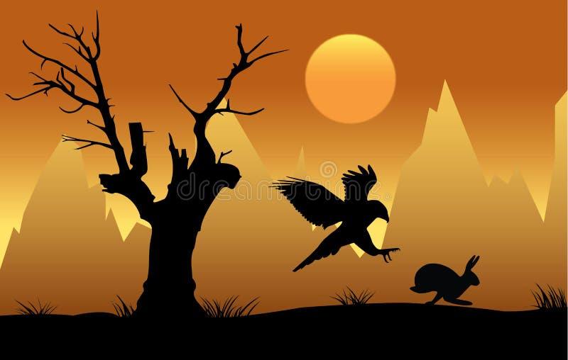 Kontur av höken som jagar haren på solnedgången stock illustrationer