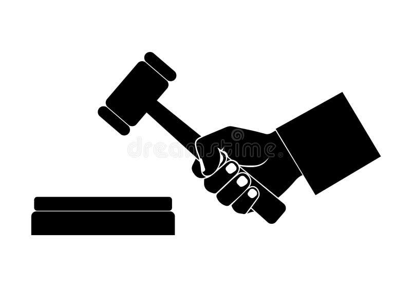 Kontur av handen med en hammare royaltyfri illustrationer
