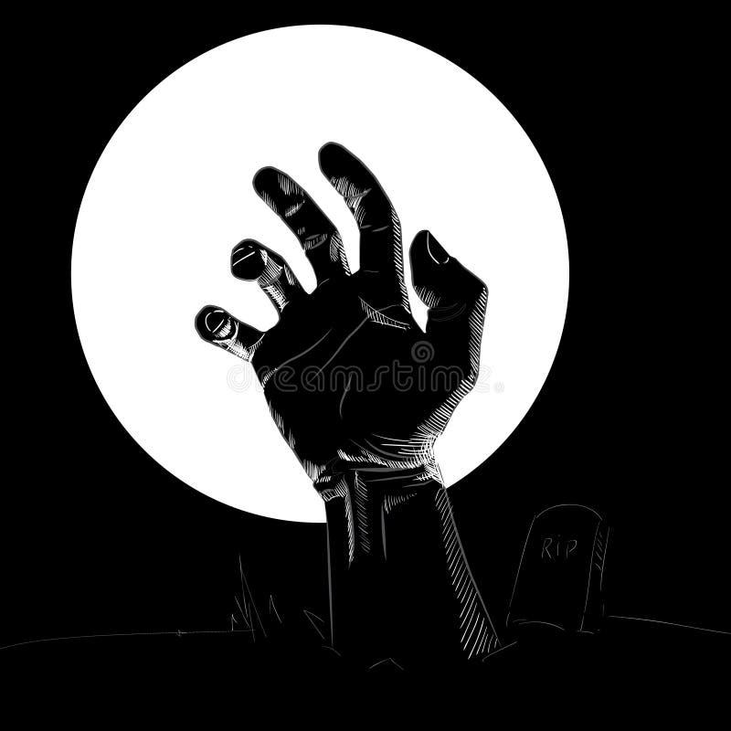 Kontur av handen på kyrkogården vektor illustrationer
