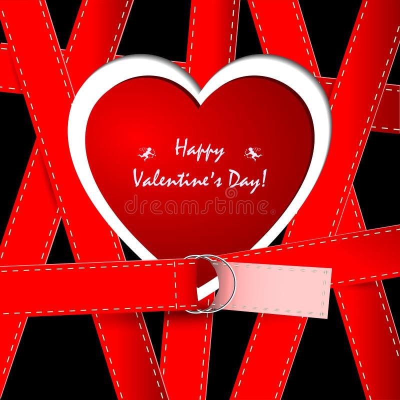 Kontur av hjärtan med flätade samman röda remmar vektor illustrationer