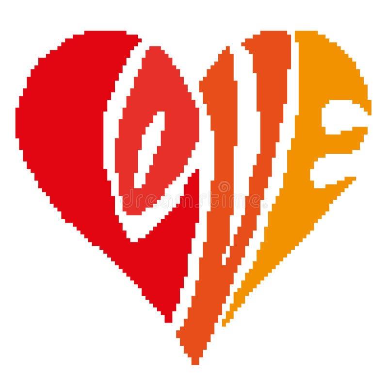 Kontur av hjärtan med mångfärgade bokstäver med de utdragna fyrkanterna för inskriftförälskelse, PIXEL Lycklig valentin för hälsn stock illustrationer