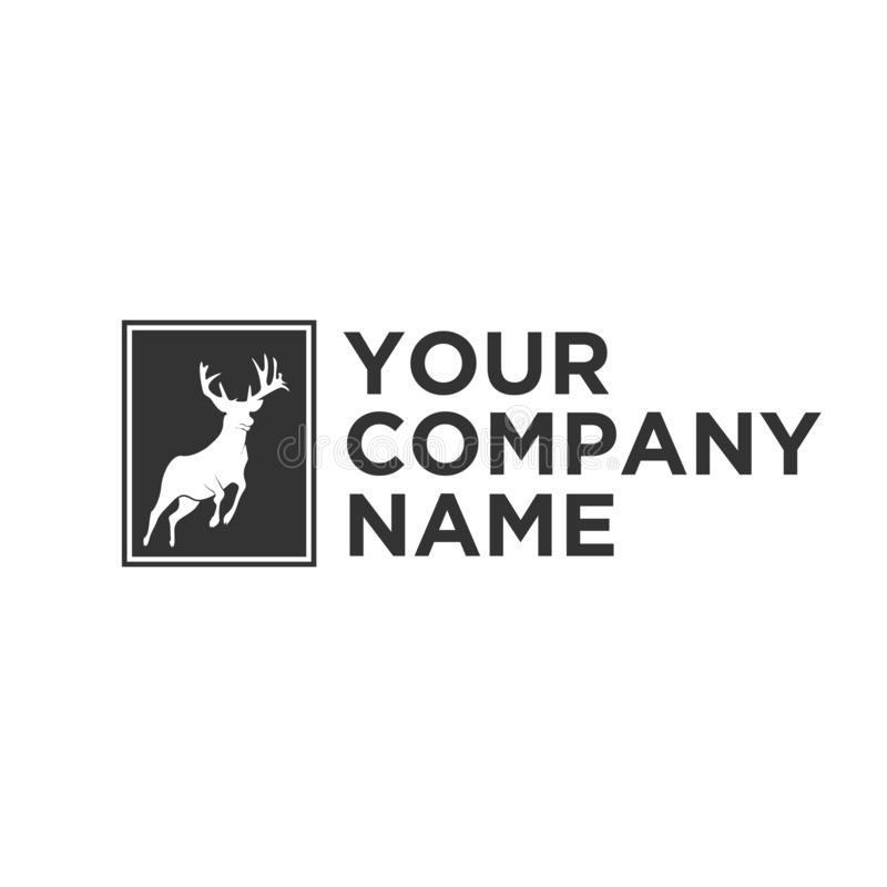 Kontur av hjortlogoen stock illustrationer