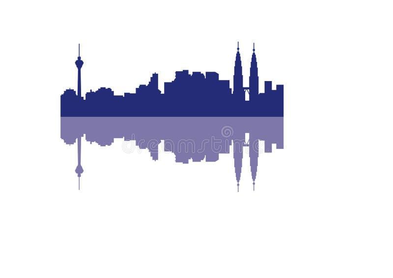 Kontur av horisont Kuala Lumpur City royaltyfri illustrationer