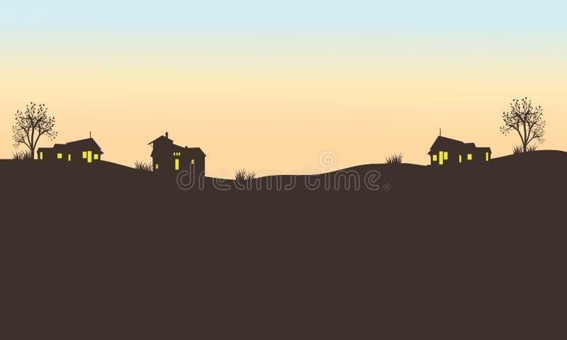 Kontur av huset i fält royaltyfri illustrationer