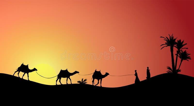 Kontur av husvagnmit-folk och kamel som irrar till och med öknarna royaltyfri illustrationer