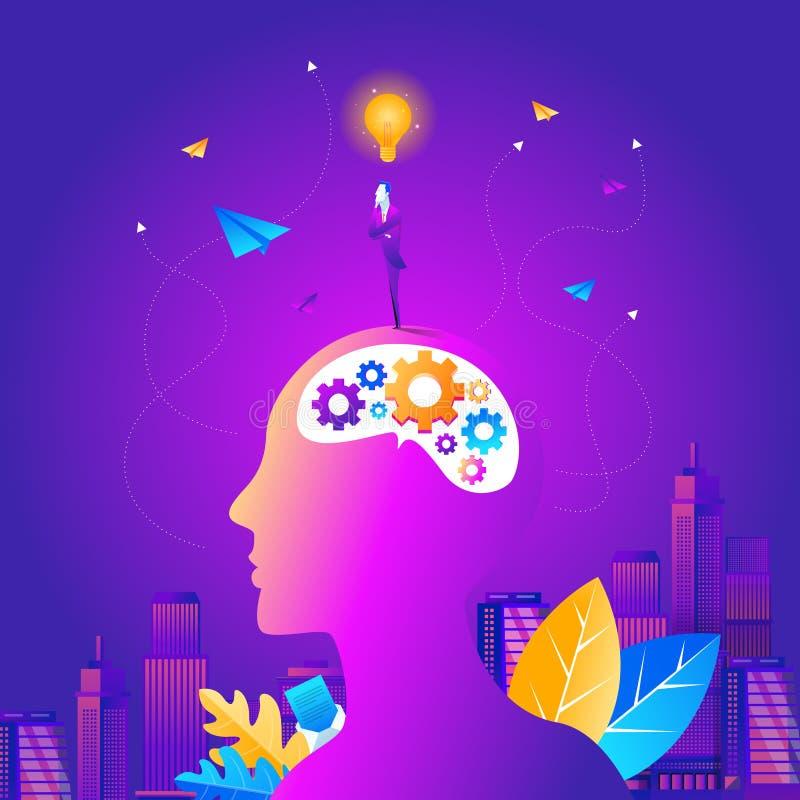 Kontur av huvudet, hjärnan och pulsarna Du kan använda i idé, upptäckt, snille, vetenskap eller teknologi Begreppet av intelligen vektor illustrationer