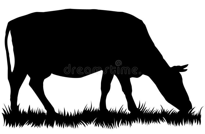 Kontur av kon som äter gräs stock illustrationer