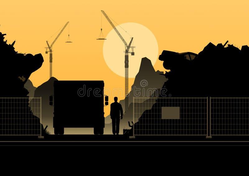 Kontur av konstruktion på orange bakgrund stock illustrationer