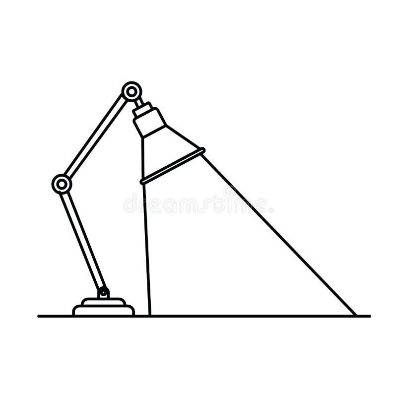 Kontur av kontorslampan på vit bakgrund vektor illustrationer