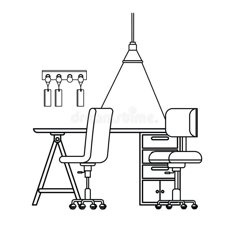 Kontur av kontorsskrivbordet med stolsymbolen vektor illustrationer