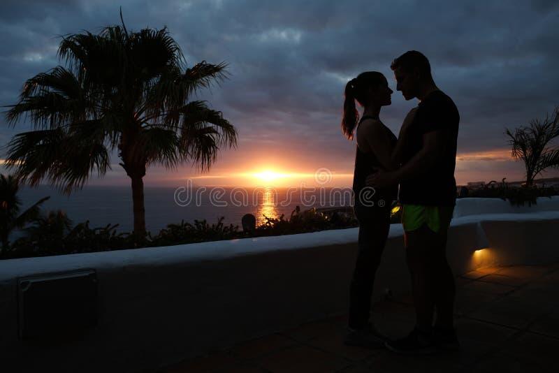 Kontur av krama par och palmträd med solnedgång över havet royaltyfri foto
