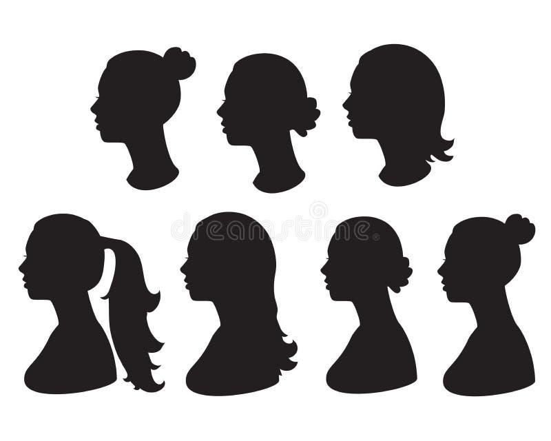 Kontur av kvinnahuvudet stock illustrationer