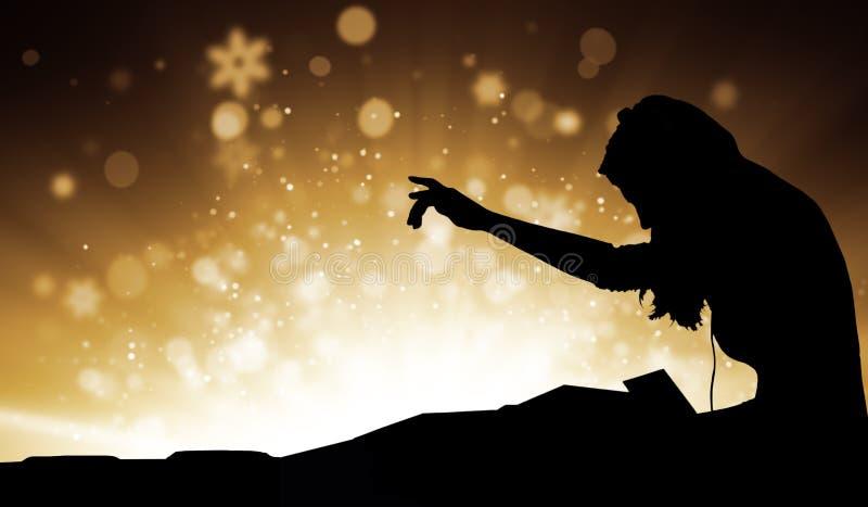 Kontur av kvinnan dj som spelar musik med suddighetsabstrakt begreppbakgrund royaltyfri illustrationer