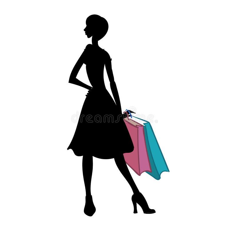 Kontur av kvinnan med olika kulöra shoppingpåsar också vektor för coreldrawillustration vektor illustrationer