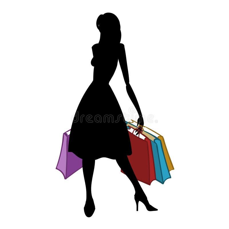 Kontur av kvinnan med olika kulöra shoppingpåsar också vektor för coreldrawillustration stock illustrationer