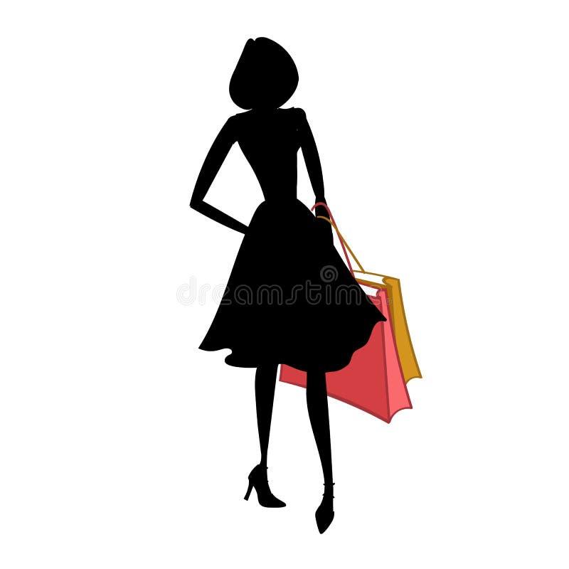 Kontur av kvinnan med olika kulöra shoppingpåsar också vektor för coreldrawillustration royaltyfri illustrationer