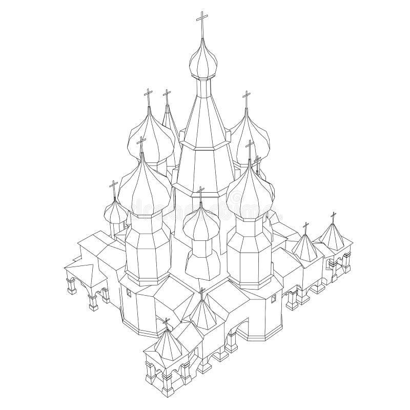 Kontur av kyrkan med kupoler Isometriskt beskåda också vektor för coreldrawillustration royaltyfri illustrationer