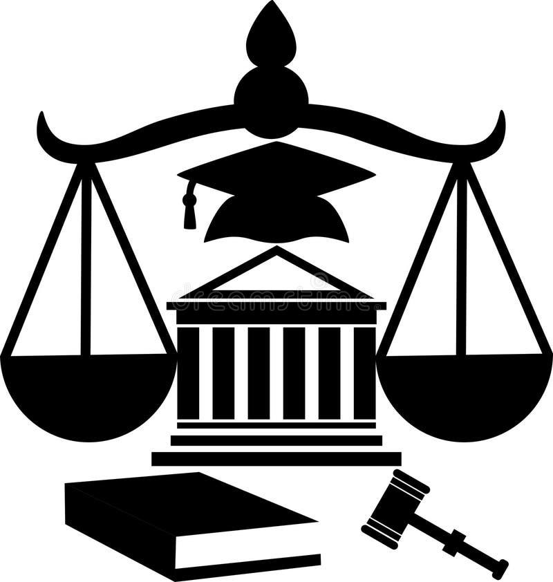 Kontur av laglig hjälp för domstolsbyggnad royaltyfri illustrationer