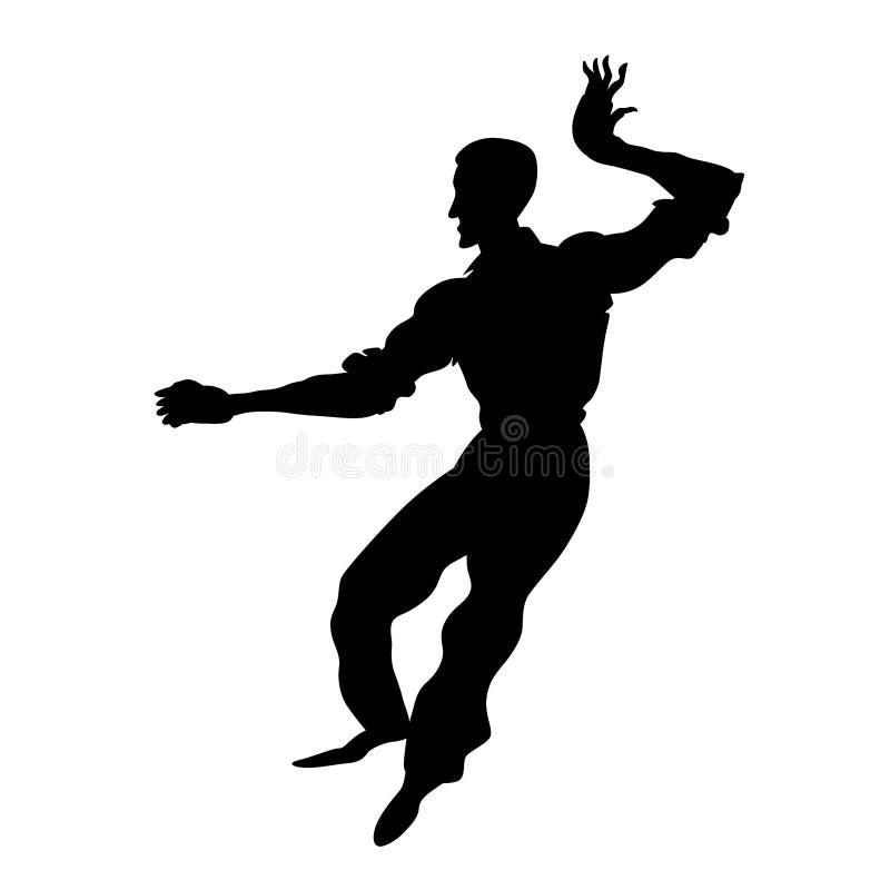 Kontur av lindy flygtur för mandans Retro dansare för affischen, reklambladstudio av sociala danser Svart illustration f?r vektor stock illustrationer
