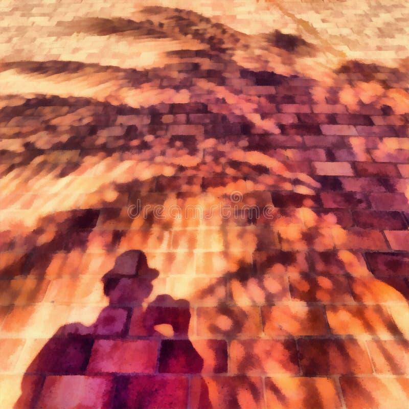 Kontur av mannen och palmtreen Skugga på en tegelstenvägg Teckning vektor illustrationer