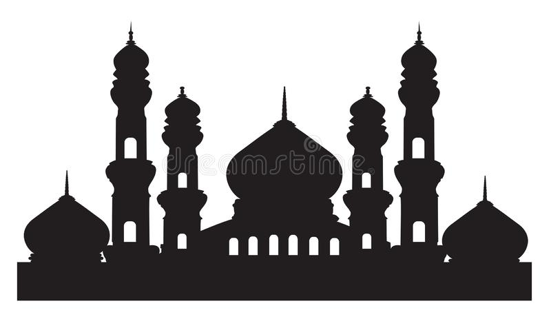 Kontur av moskén stock illustrationer