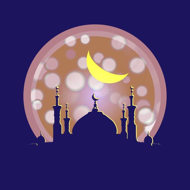 Kontur av moskén med minaret vektor illustrationer