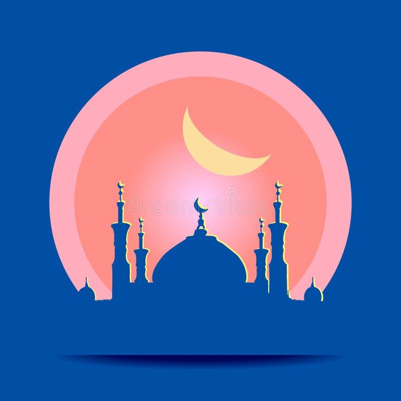 Kontur av moskén med minaret stock illustrationer