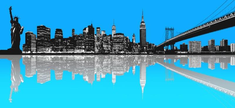 Kontur av New York horisont vektor illustrationer