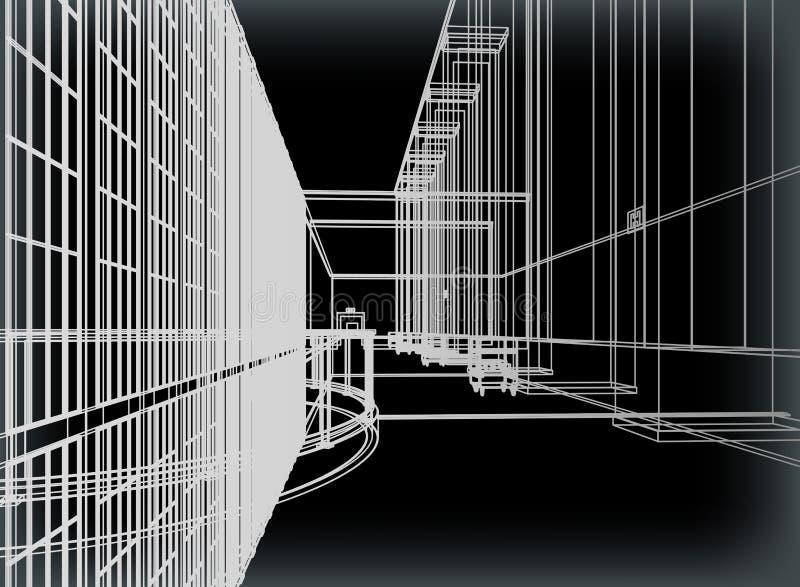 Kontur av Nightly staden. Vektor vektor illustrationer