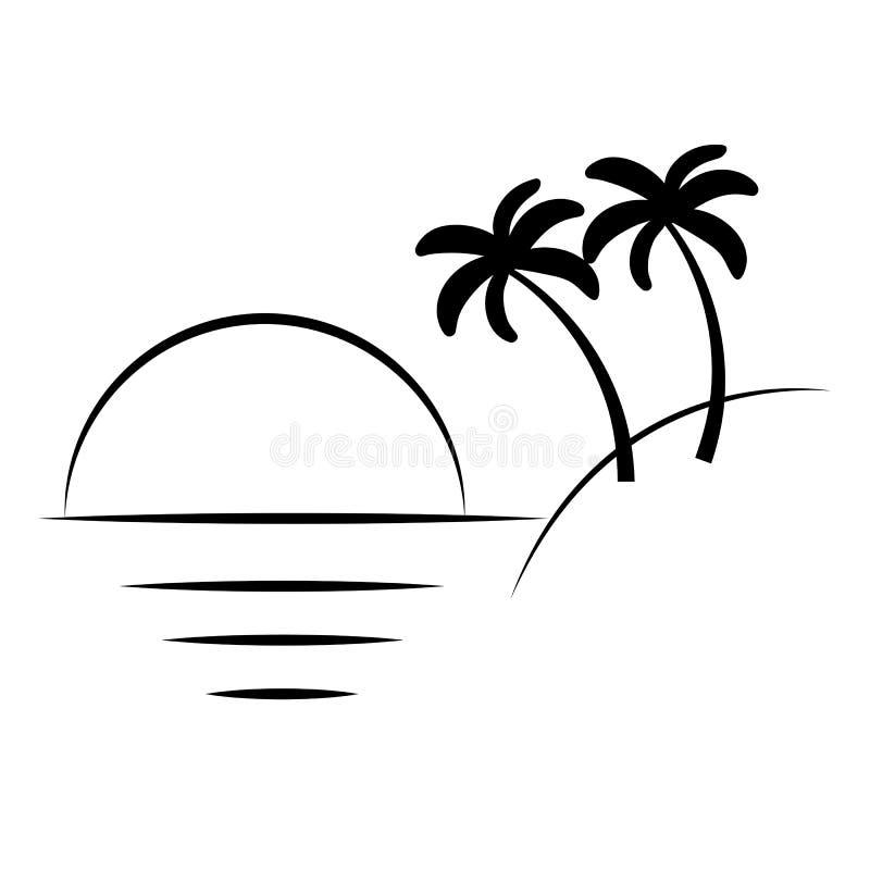 Kontur av palmträd på ön Vektorillustrationisolator royaltyfri illustrationer