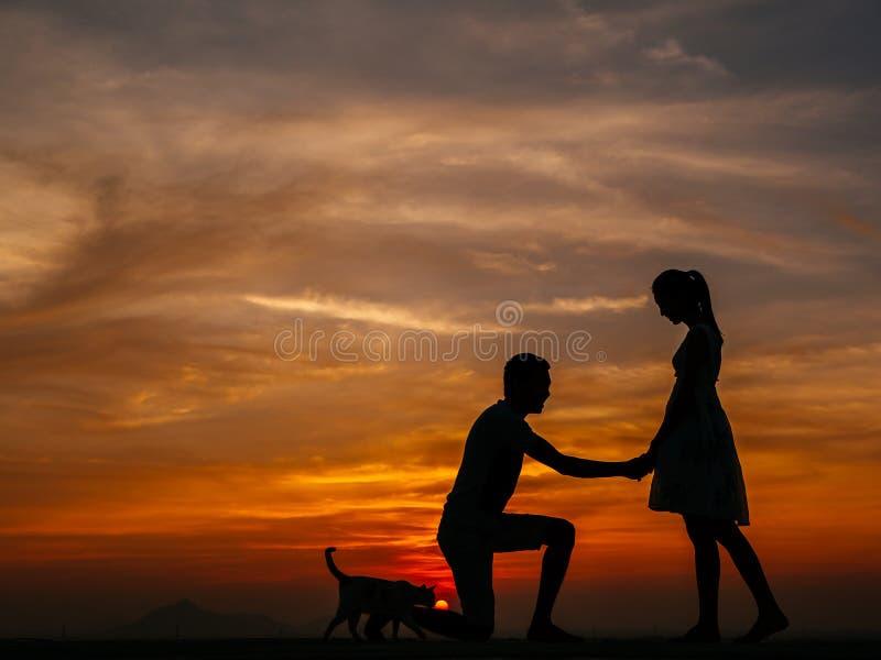 Kontur av par på solnedgången royaltyfri fotografi