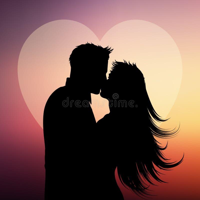 Kontur av par som kysser på en hjärtabakgrund royaltyfri illustrationer