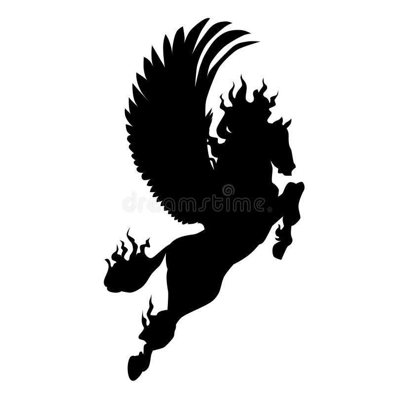Kontur av pegasus Pegasus vektorillustration stock illustrationer