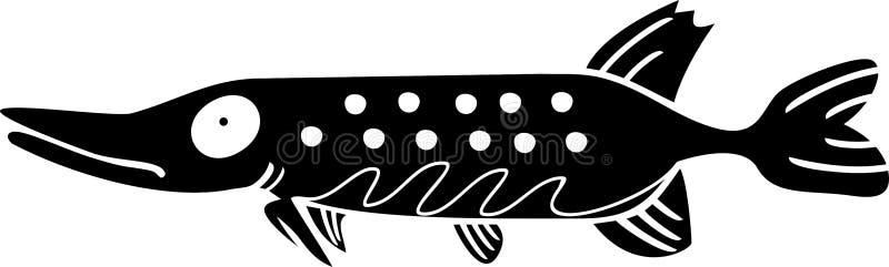 Kontur av piken enförkroppsligad rov- sötvattensfisk royaltyfri illustrationer